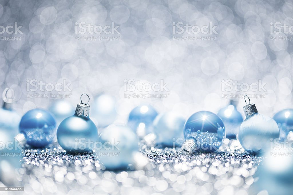 Blue Christmas - Baubles Decoration Glitter Bokeh Winter Gold royalty-free stock photo