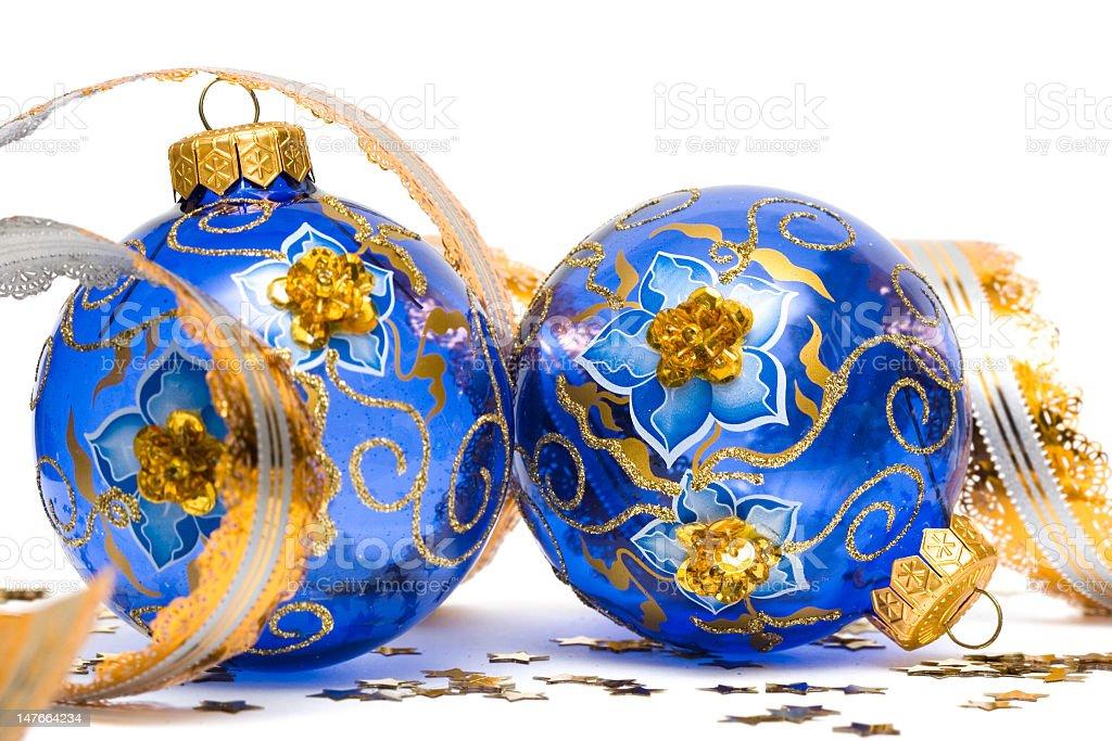Bolas de Decoração de Natal azul com fita foto de stock royalty-free