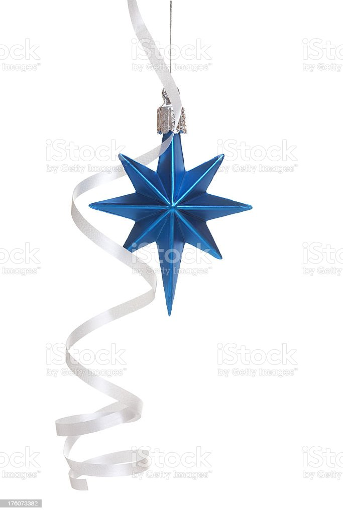 Blue christmas decoration with ribbon stock photo