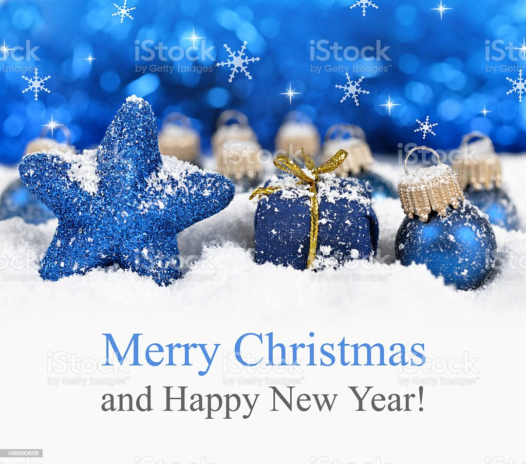 Blue christmas decorations. stock photo