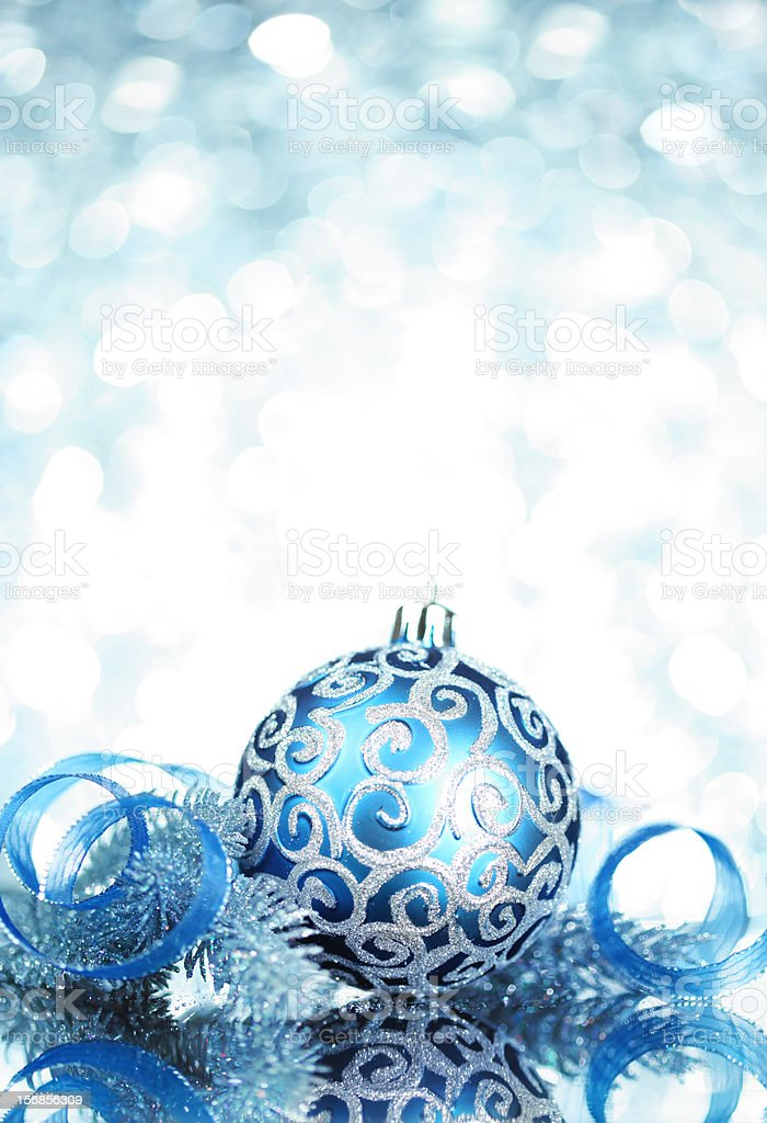 Blue Christmas decorations with bright lights royalty-free stock photo