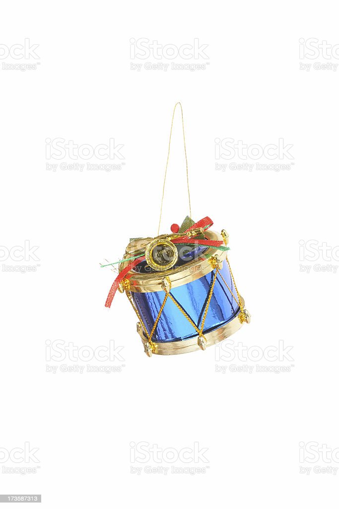 Blue Christmas drum ornament stock photo