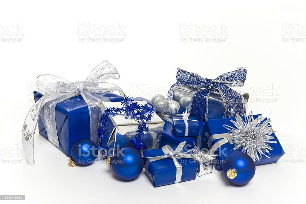 Blue Christmas Gifts and Decorations royalty-free stock photo