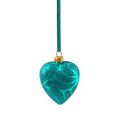 Blue Christmas heart isolated on white background New Year