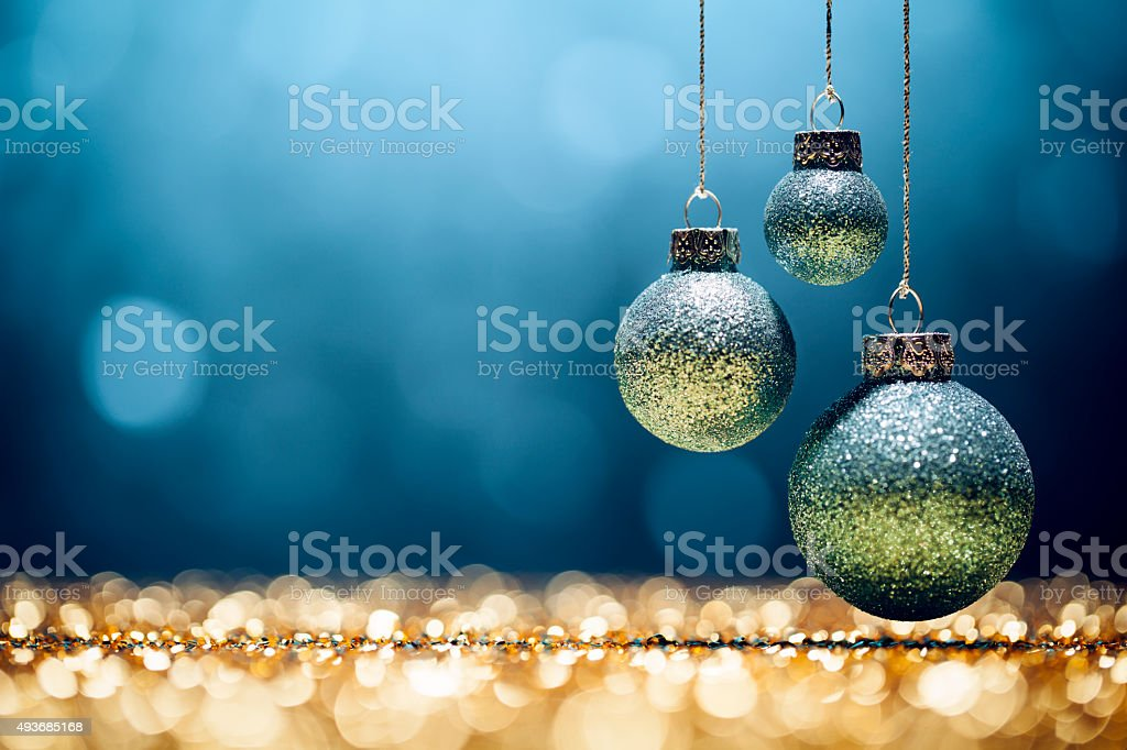 Blue Christmas - Lights Bokeh Defocused Decoration Gold stock photo