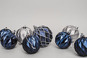Blue christmas ornaments baubles