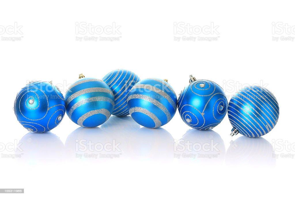 Blue Christmas ornaments. royalty-free stock photo