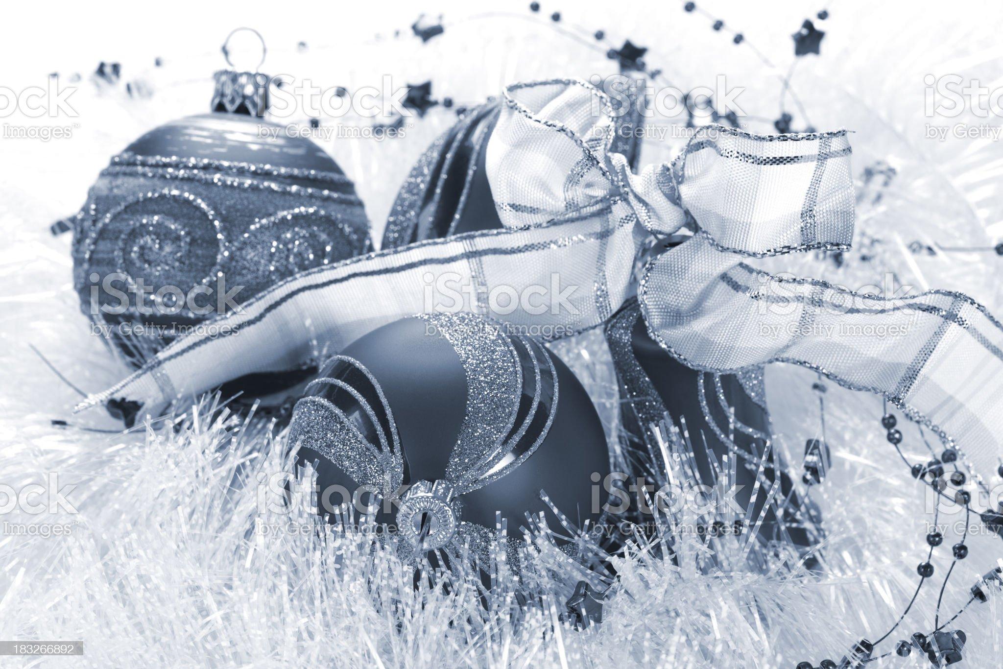 Blue Christmas Ornaments royalty-free stock photo