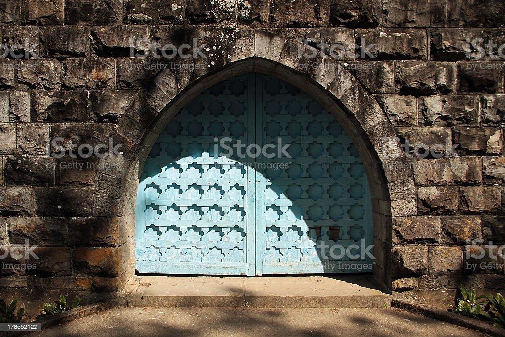 Blue Church Door stock photo