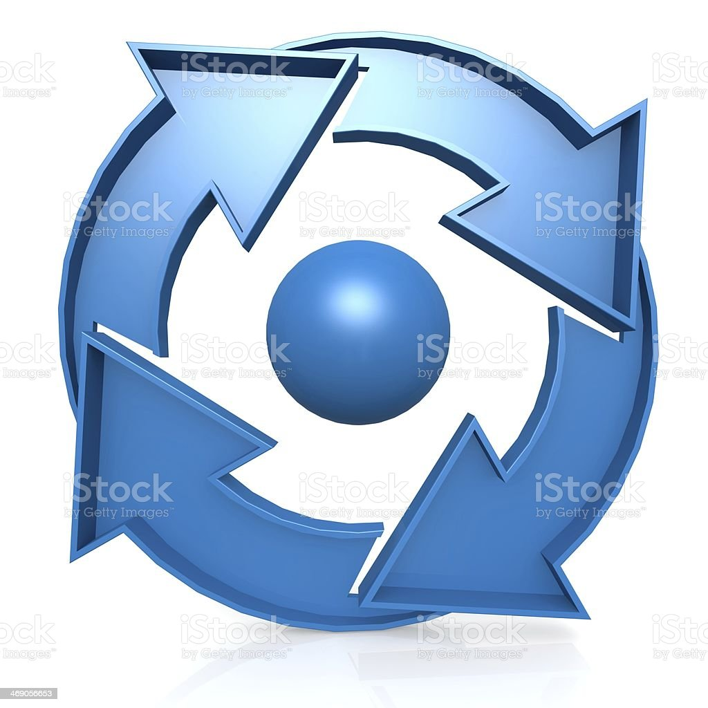 Blue Circle chart with 4 arrows stock photo