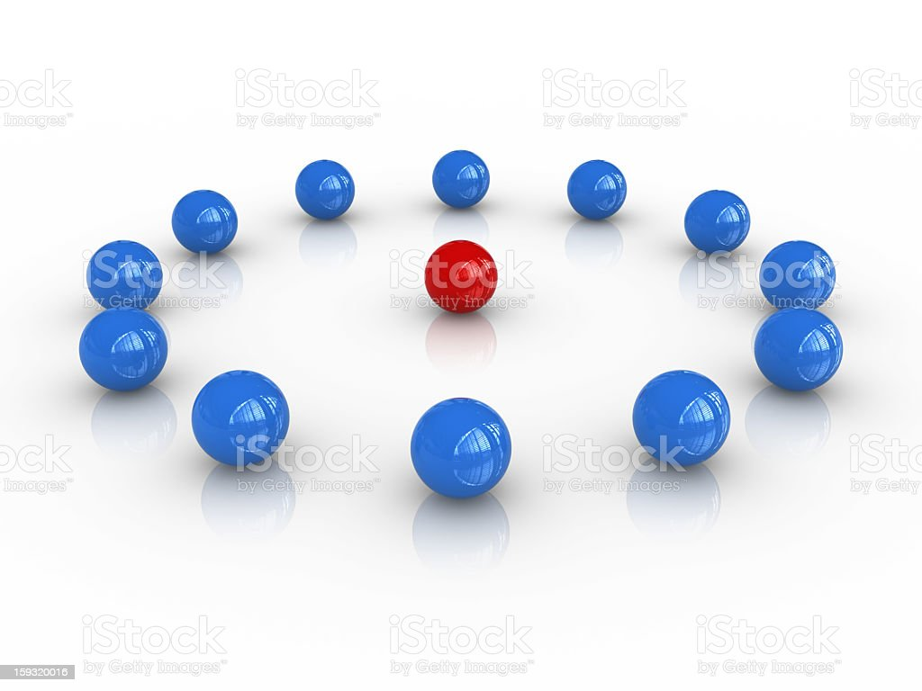 Blue Circle Spheres with Red One on Center royalty-free stock photo