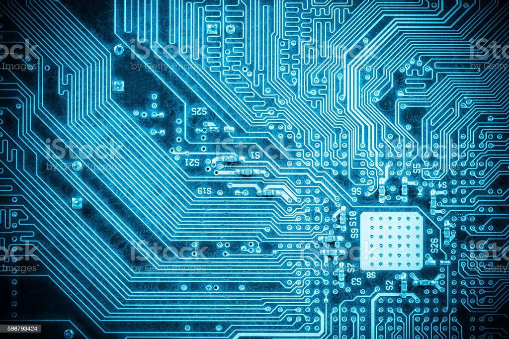 blue circuit board background stock photo