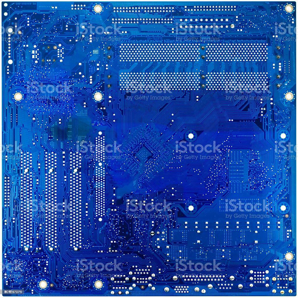 blue circuit board of computer stock photo