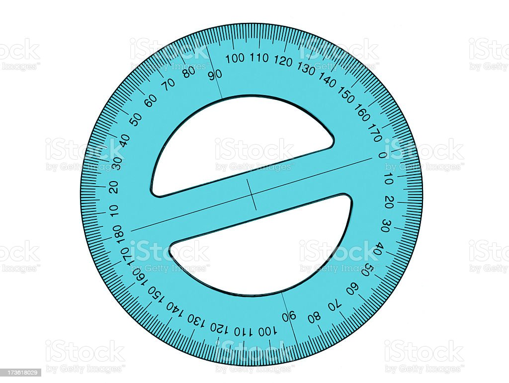 Blue circular measuring protractor on white background stock photo