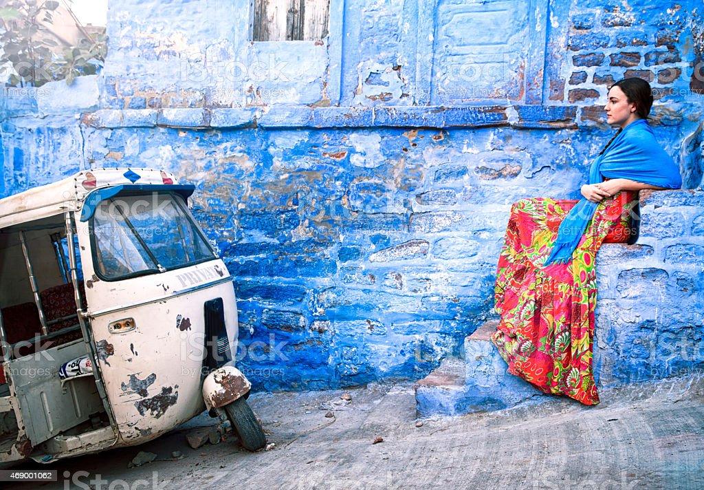 Blue City Jodhpur Portrait. stock photo