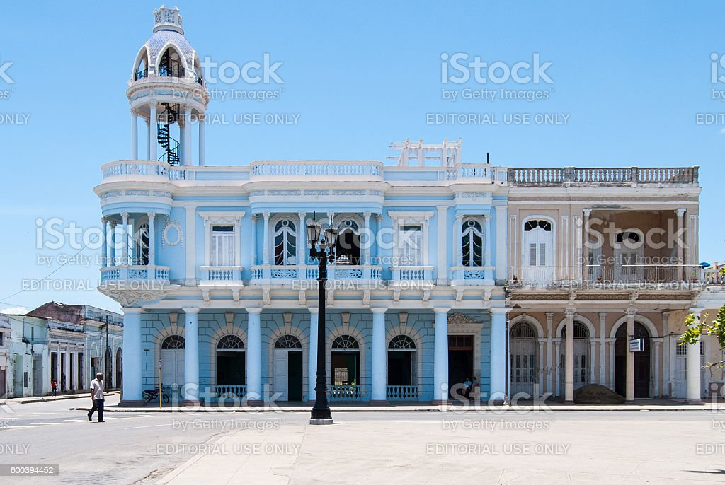 Blue civic building in Cienfuegos, Cuba stock photo