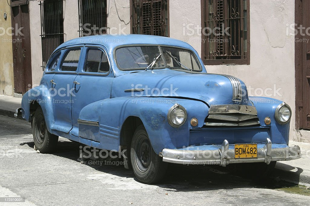 Blue classic car (oldtimer) in the streets of Havanna, Cuba royalty-free stock photo