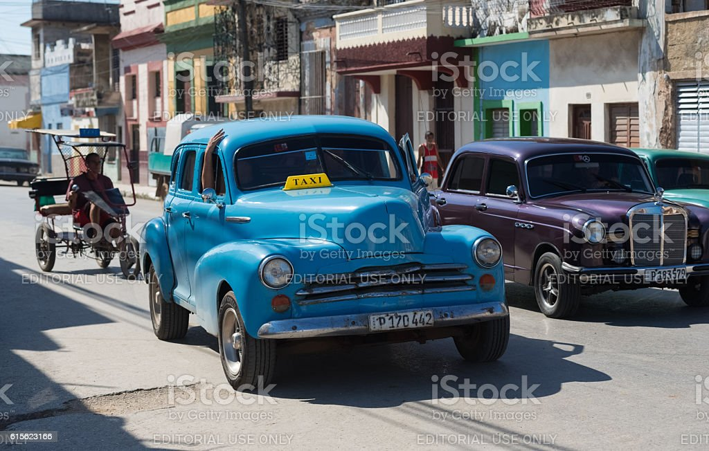 Blue classic Chevrolet on the street from Santa Clara Cuba stock photo