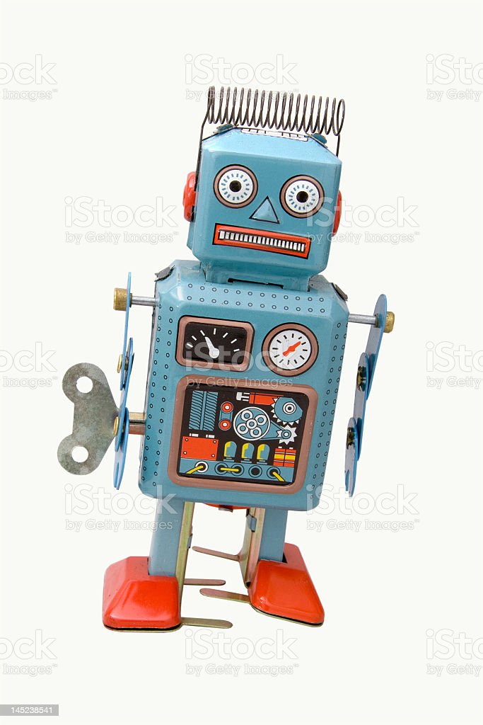 A blue, classic robot standing alone stock photo