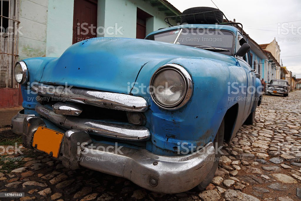blue classic vintage cuban car royalty-free stock photo