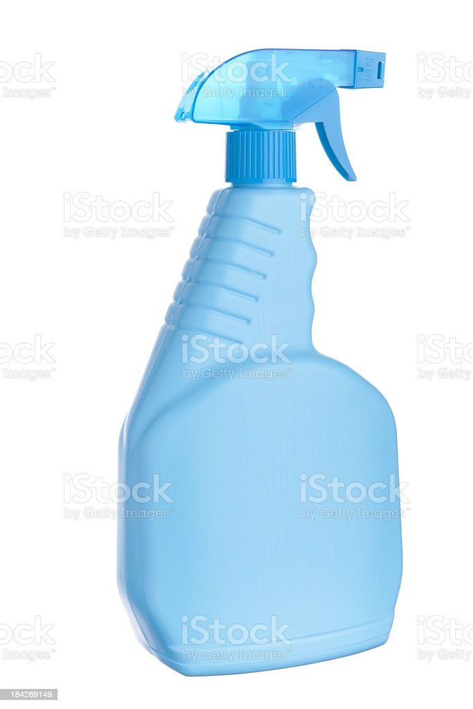 Blue cleaning bottle stock photo