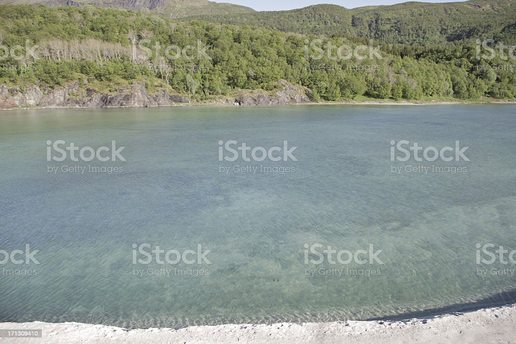 Blue clear fjord water Norway royalty-free stock photo