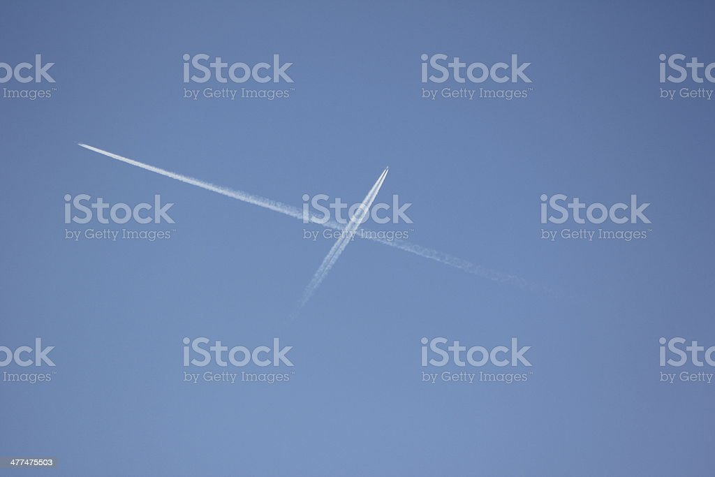 Blue Clear Sky & White Condensation Trail of two Aircrafts stock photo
