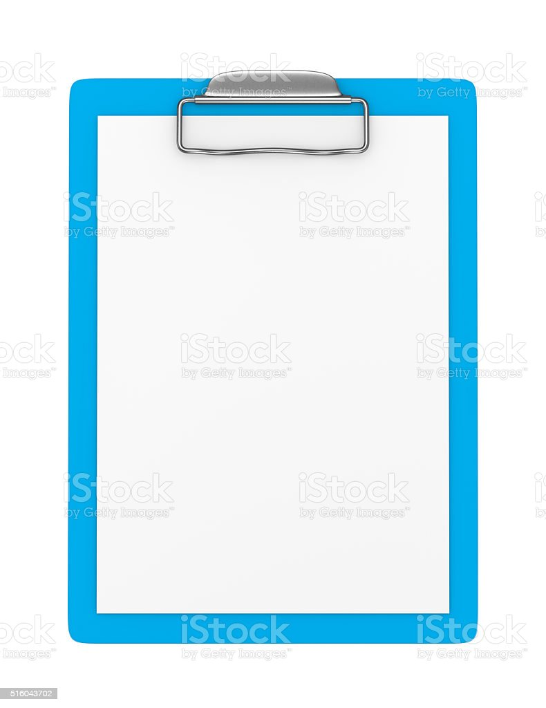 Blue Clipboard with Blank Paper Isolated stock photo