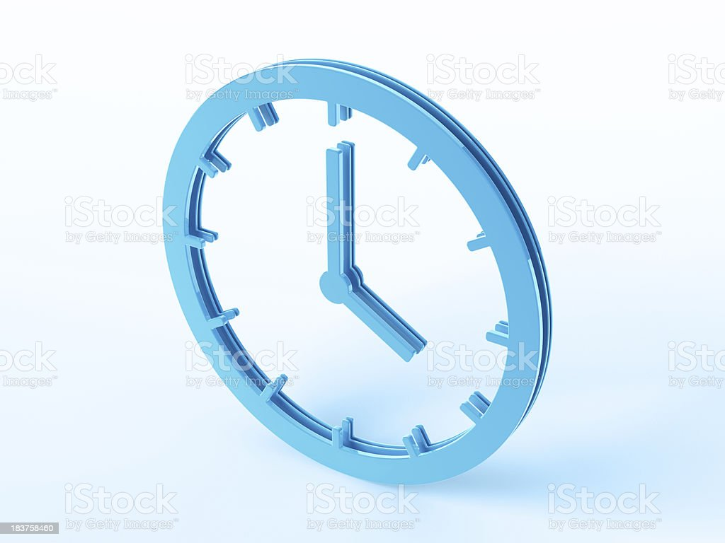 Blue Clock Symbol royalty-free stock photo