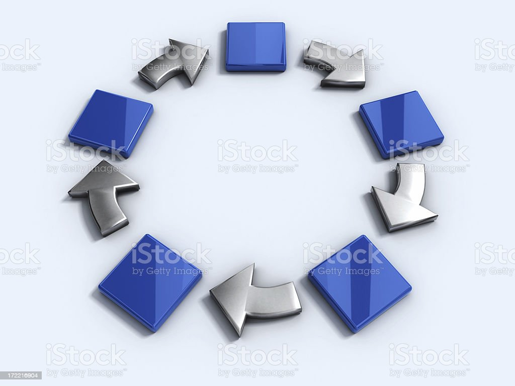 Blue clocks and gray arrows forming a circle stock photo