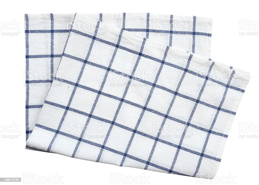Blue cloth kitchen towel isolated on white background (clipping path) stock photo