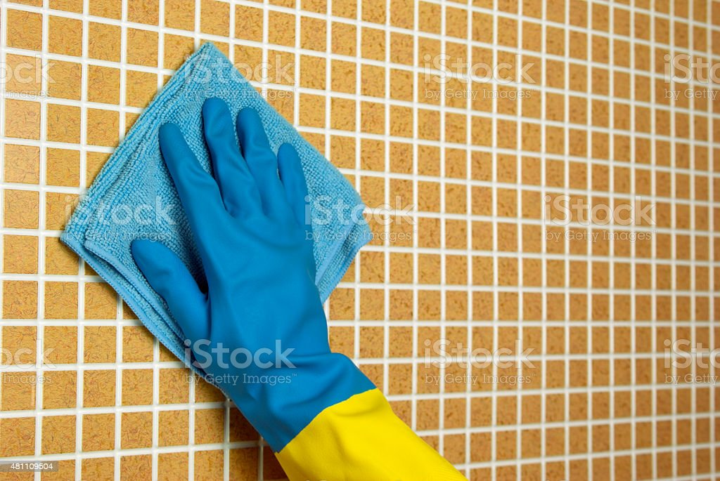 Blue cloth with hand royalty-free stock photo