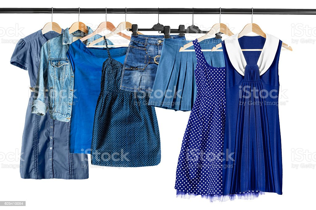 Blue clothes on clothes rack stock photo