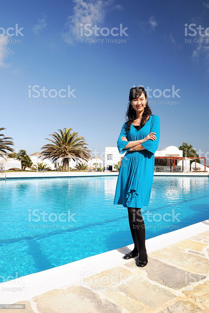Blue Clothes Woman royalty-free stock photo