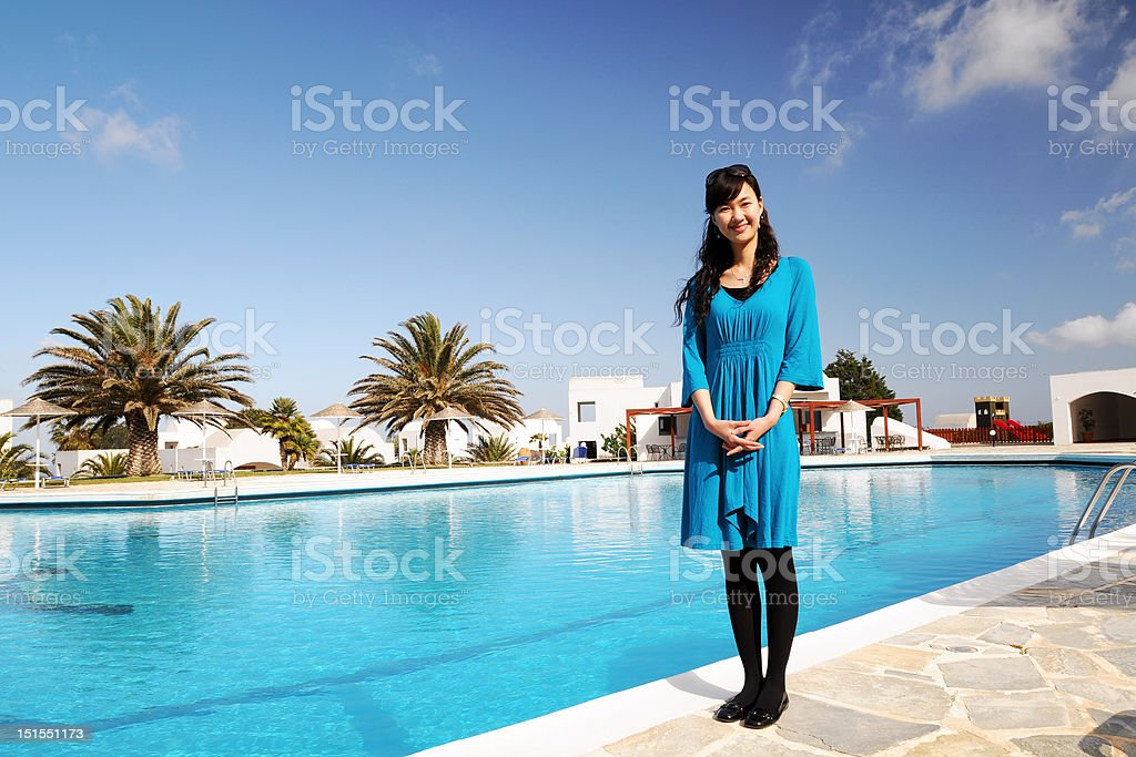 Blue Clothes Woman stock photo