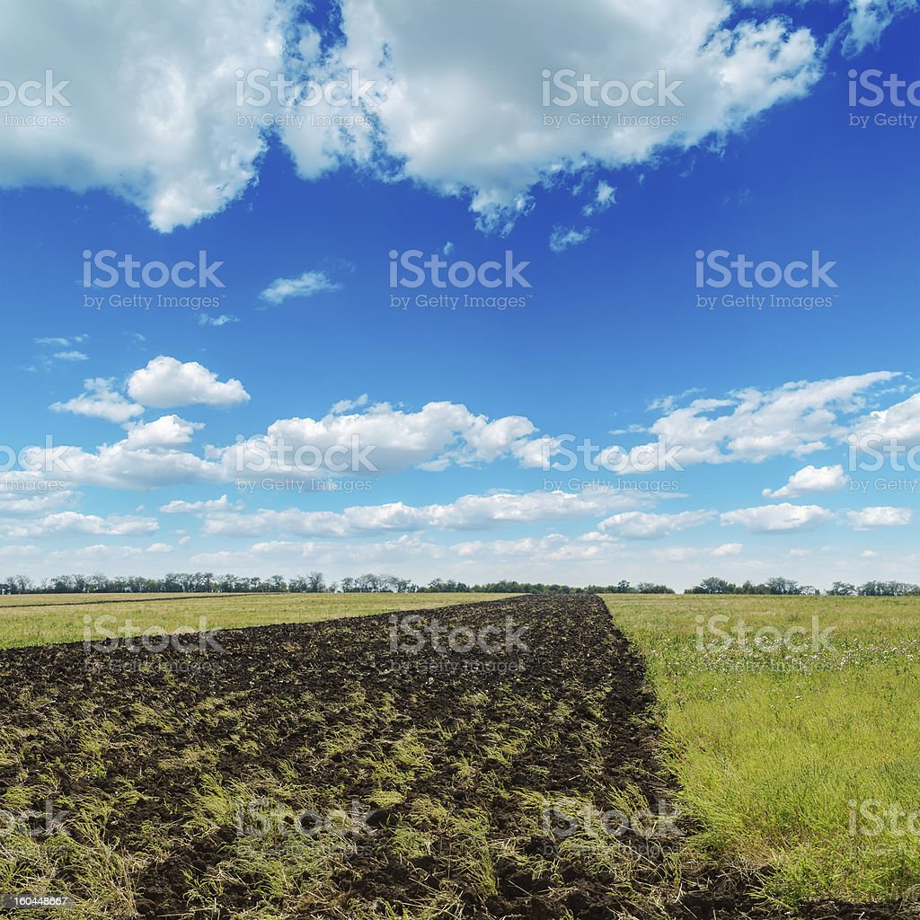 blue cloudy sky and plouwed field royalty-free stock photo