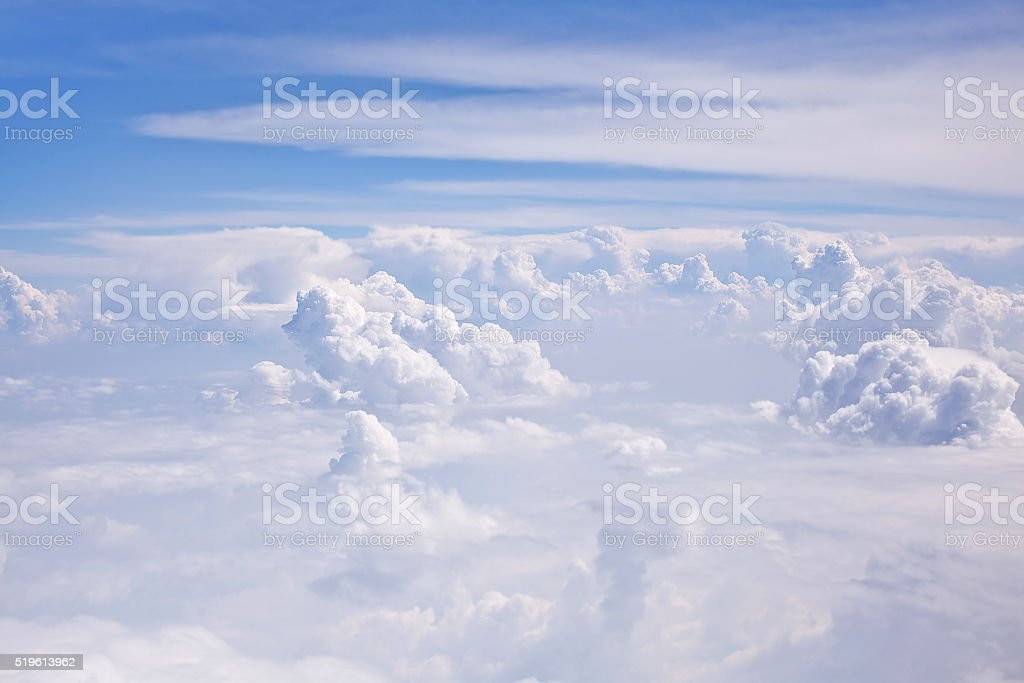 Blue cloudy sky. View from porthole stock photo