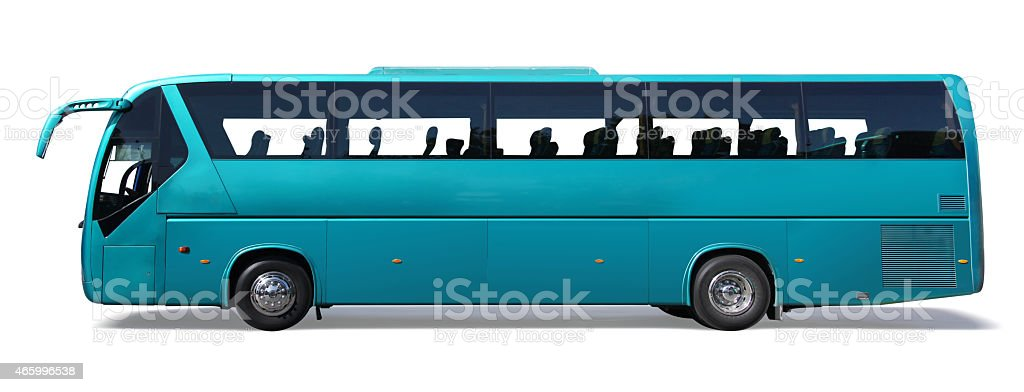 Blue coach bus isolated stock photo