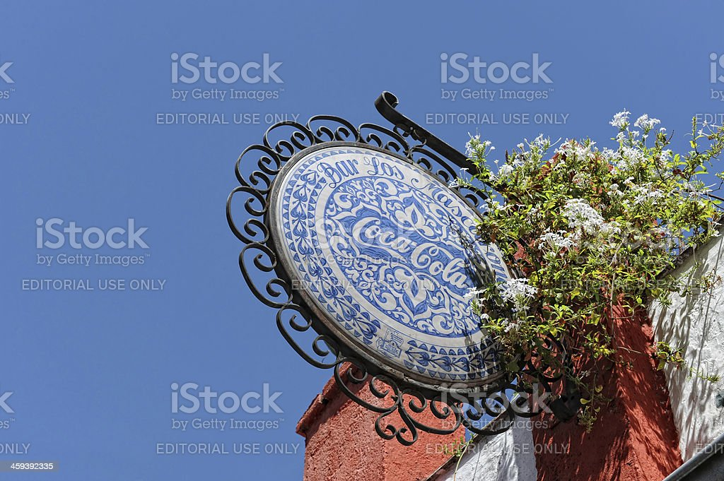 Blue Coca Cola sign royalty-free stock photo