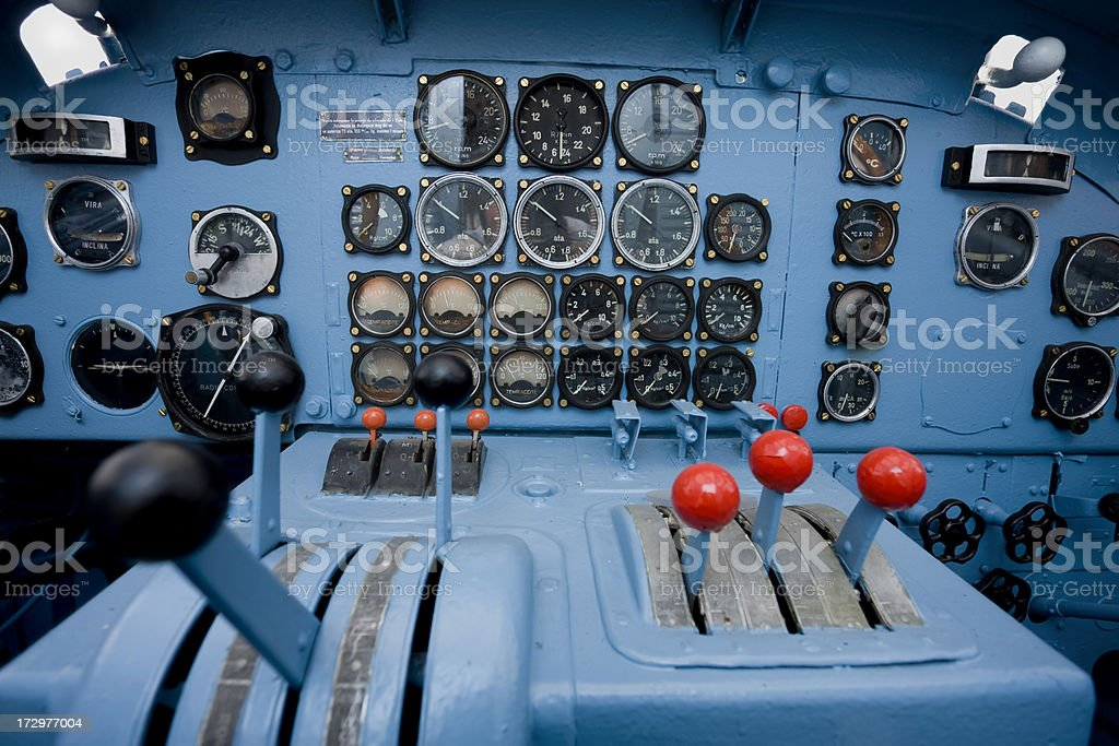 Blue cockpit of old airplane royalty-free stock photo