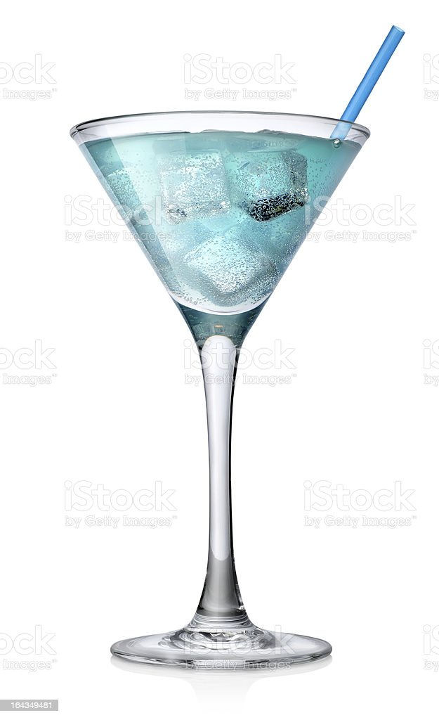 Blue cocktail in a high glass royalty-free stock photo