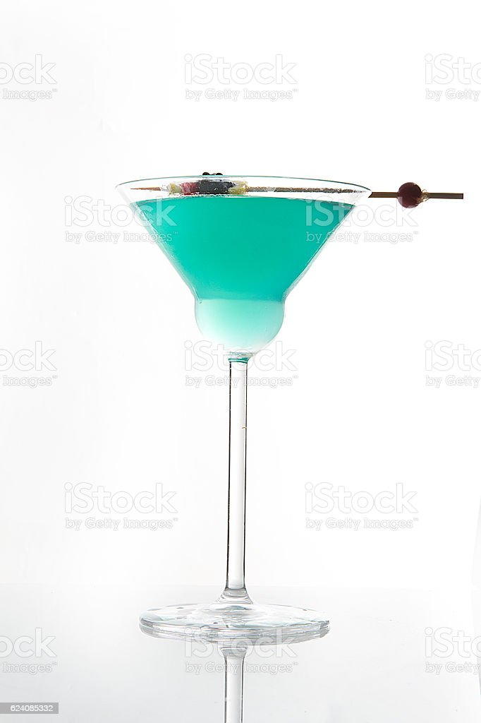blue cocktail on white background stock photo