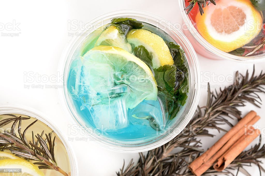Blue Cocktail with fresh lemon and mint stock photo