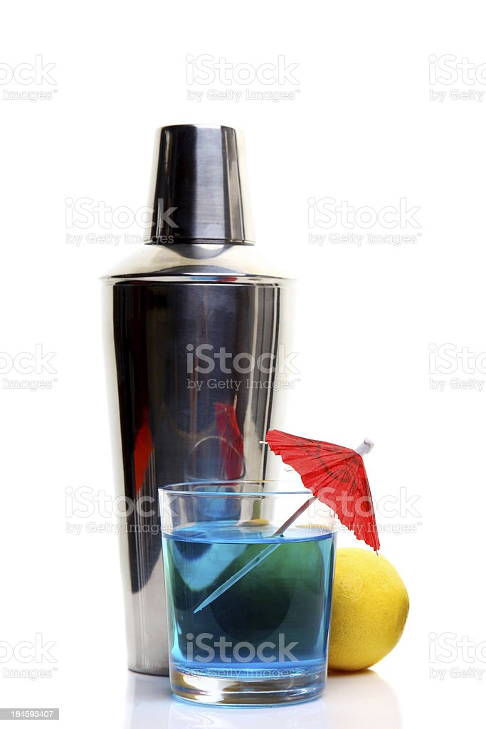Blue Cocktail with shaker royalty-free stock photo
