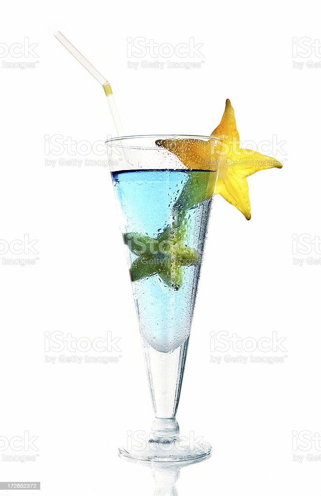 Blue cocktail with stars royalty-free stock photo