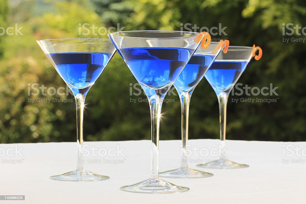 Blue cocktails stock photo