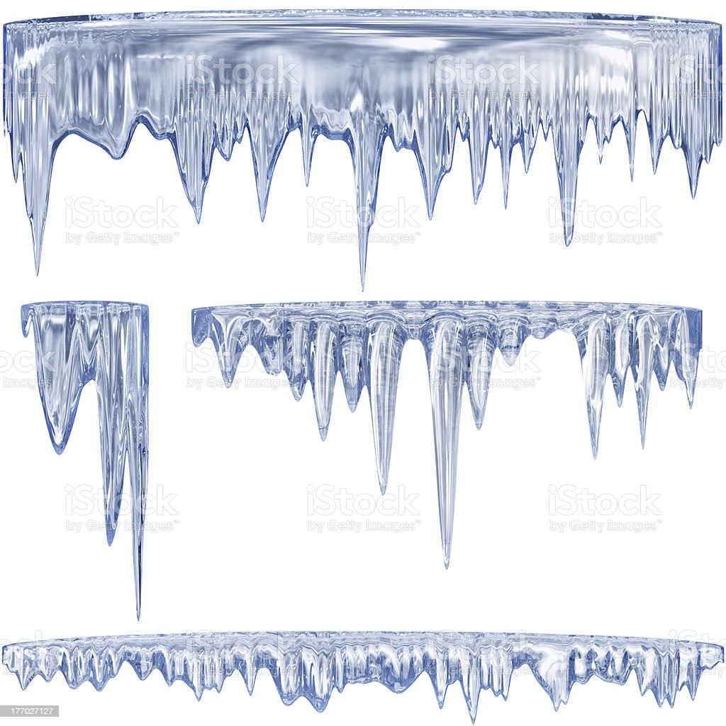 Blue cold icicles stock photo