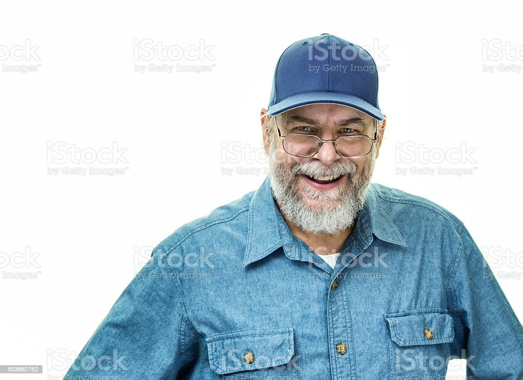Blue Collar Service Worker Senior Adult Man Smiling stock photo