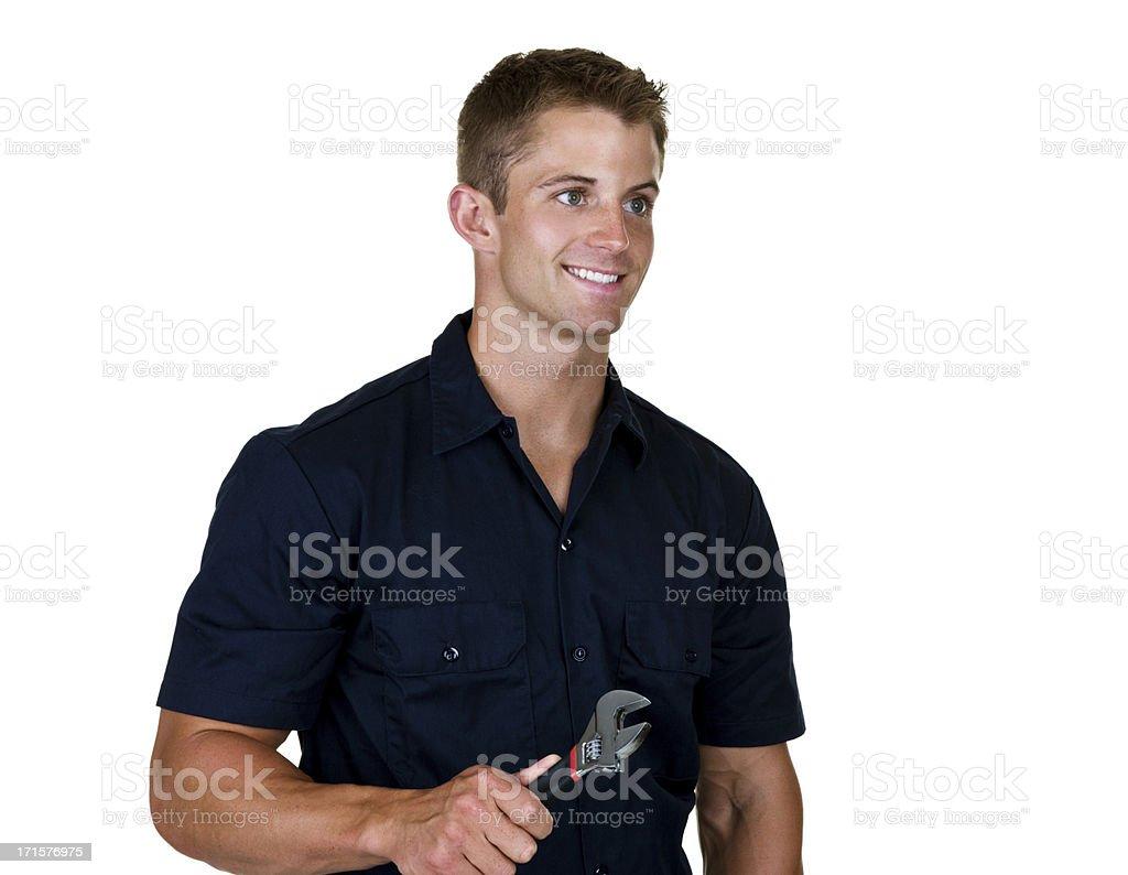 Blue collar worker stock photo