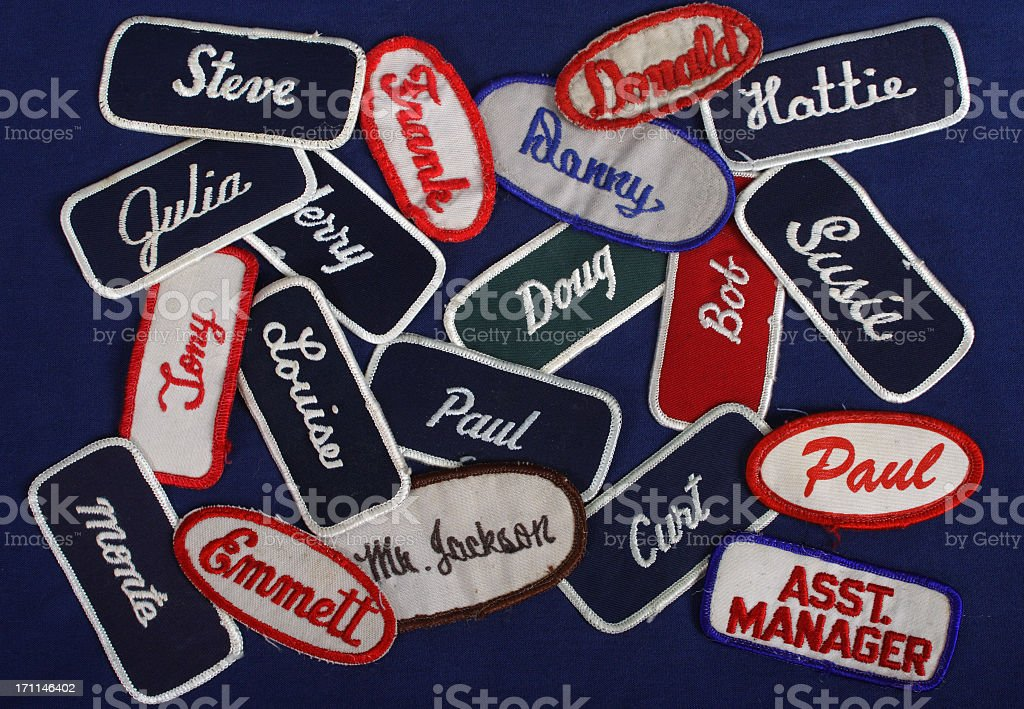 Blue Collar,Name Tags,Tags,badges,identificarion,workers,employment, stock photo